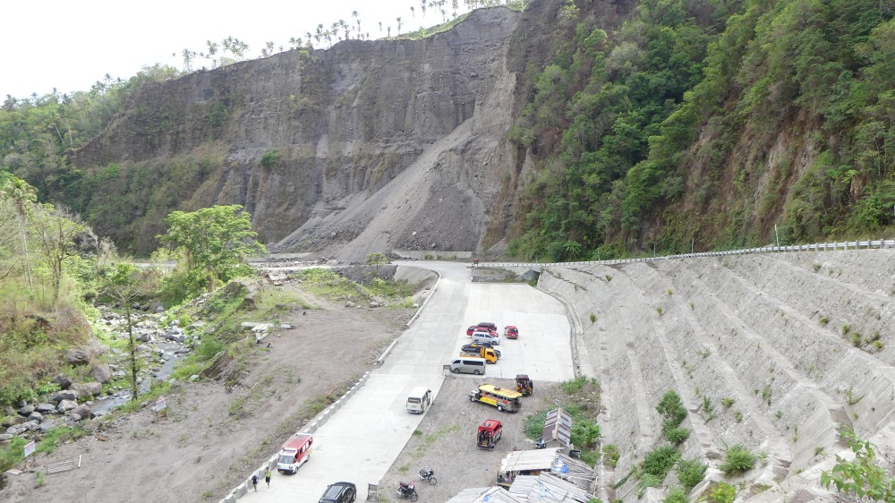 Parking lot and landslide